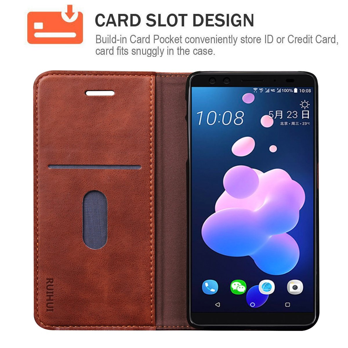 new style 5ee8a 6645d HTC U12 Plus Case,HTC U12 + Case,RUIHUI Luxury Leather Wallet Folding Flip  Protective Case Cover with Card Slots,Kickstand and Magnetic Closure For ...