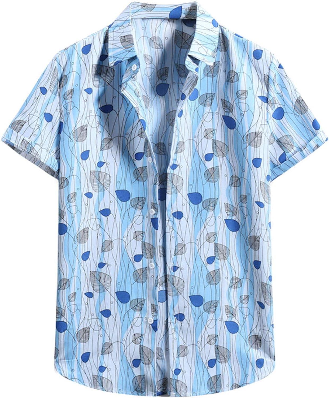 haoricu Summer Mens Short Sleeve Blouse Summer V Neck Shirts Stripes Print Button Up Loose Shirts Blouse