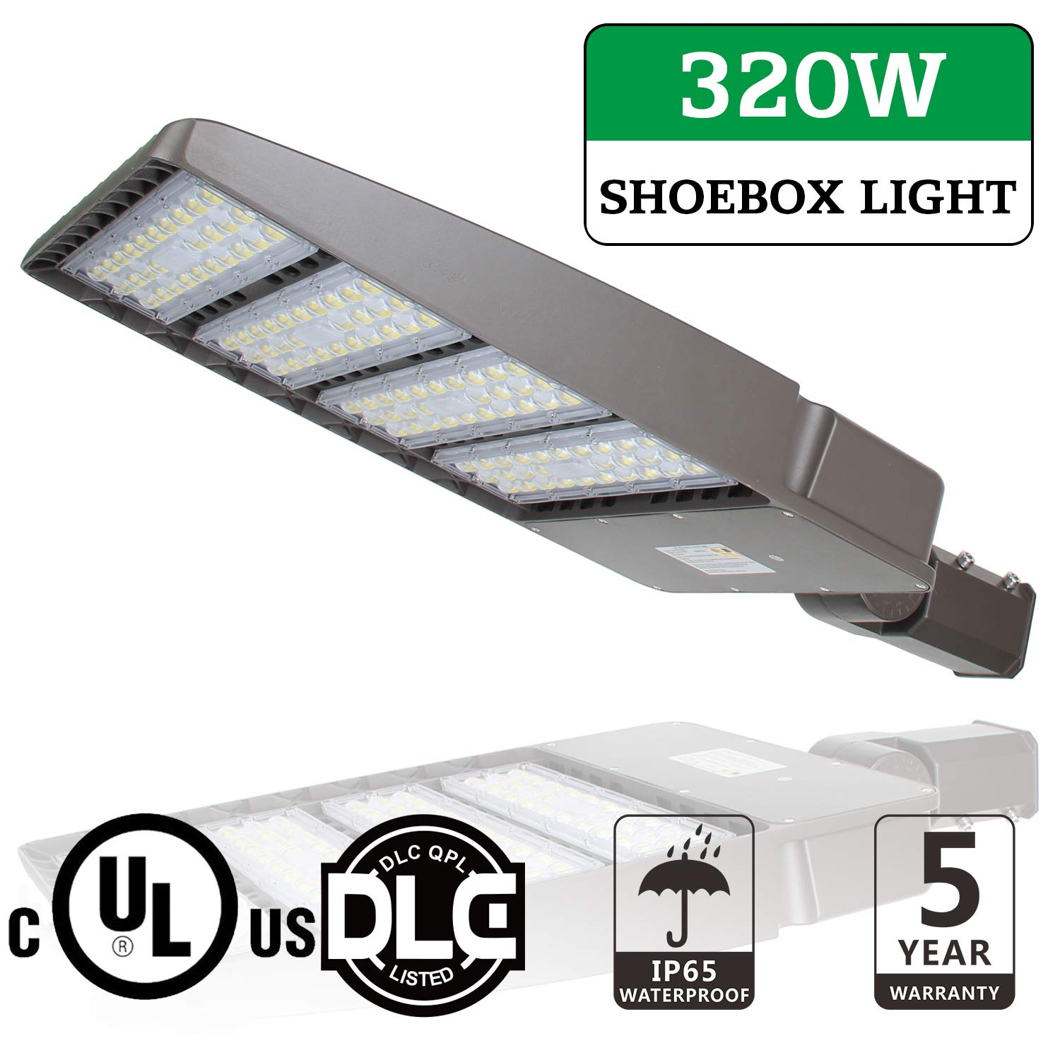 LED Parking Lot Lights, KUKUPPO 320W Pole Mounted Shoebox Lights Fixture Outdoor Commercial Street Area Security Lighting Slip Fitter - AC100~277V, 43200LM, 5700K, IP65, DLC UL Listed