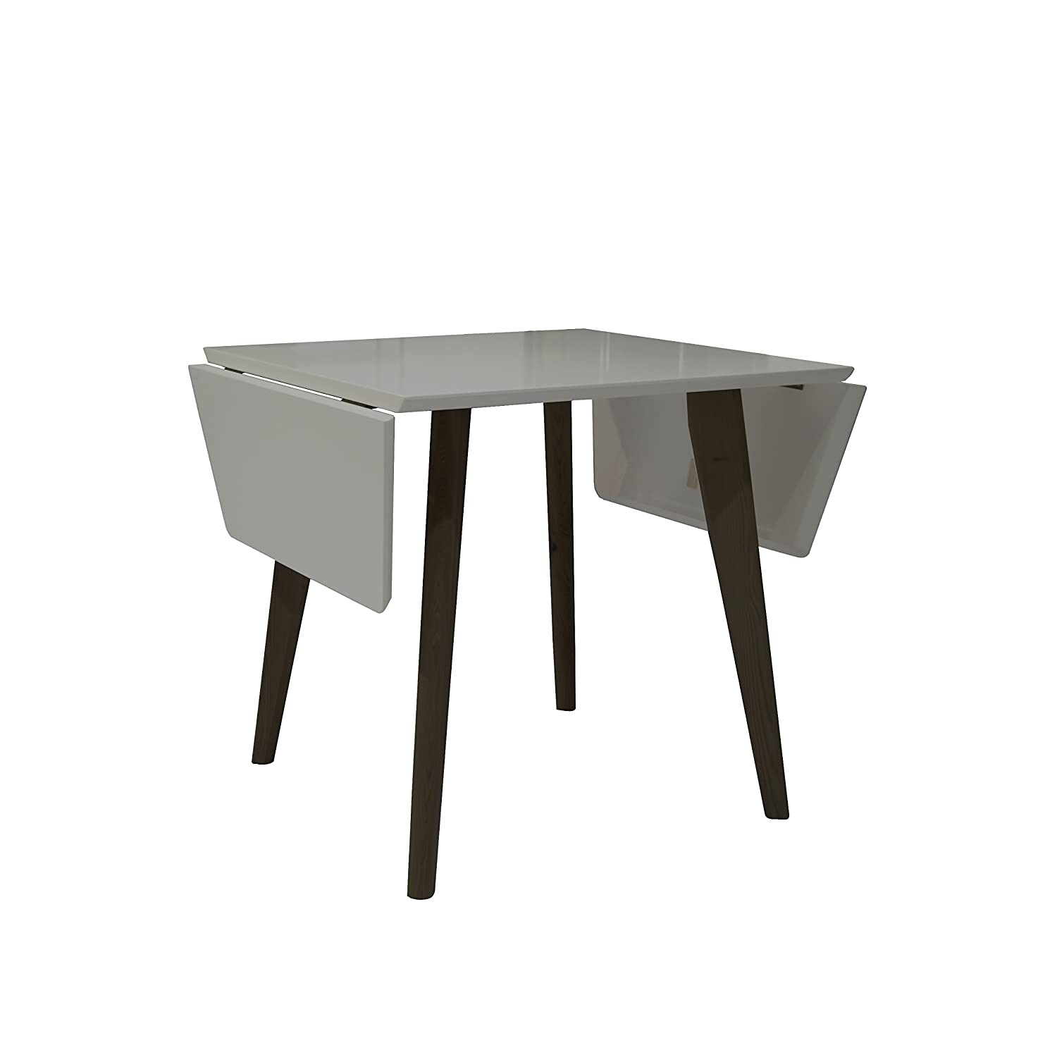 NPET Extendable Dining Table Mid-Century Modern Matte Gray and Black Oak Indoor Table, Double Drop Leaf Design