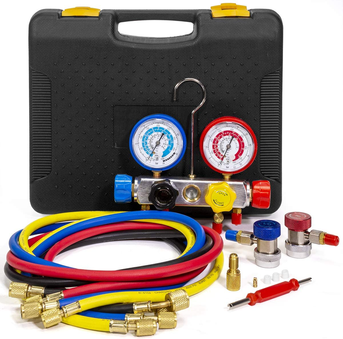 XtremepowerUS 4 Way AC Manifold Gauge Set R410A R22 R134A HVAC Diagnostic Charging Tool Quick Adapter w/Hose Set + Carrying Case
