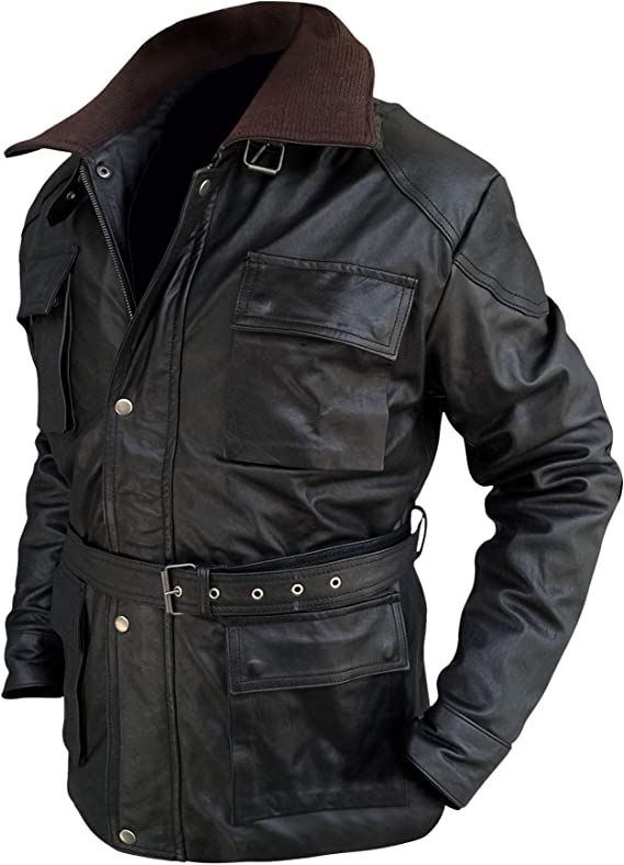 MEN/'S BATMAN DARK KNIGHT RISES TOM HARDY-BANE DISTRESSED BROWN LEATHER JACKET