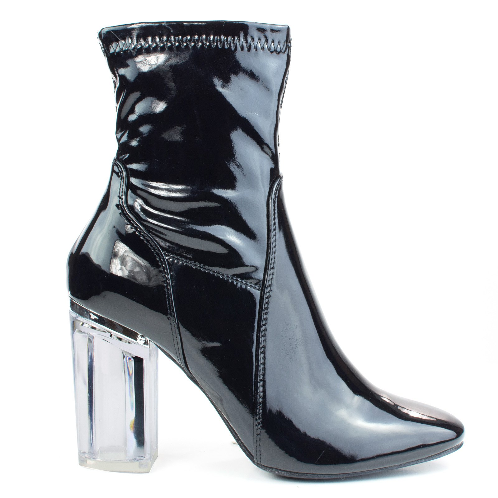X2B Cameron3 BlackPatent Sleek Ankle Bootie Latex Patent Perspex Glass Block Heel w Pointed Toe -10