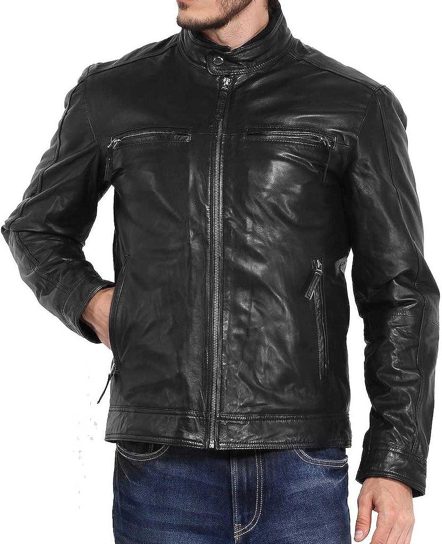 New Mens Leather Jacket Slim Fit Biker Motorcycle Genuine Lambskin Jacket X585