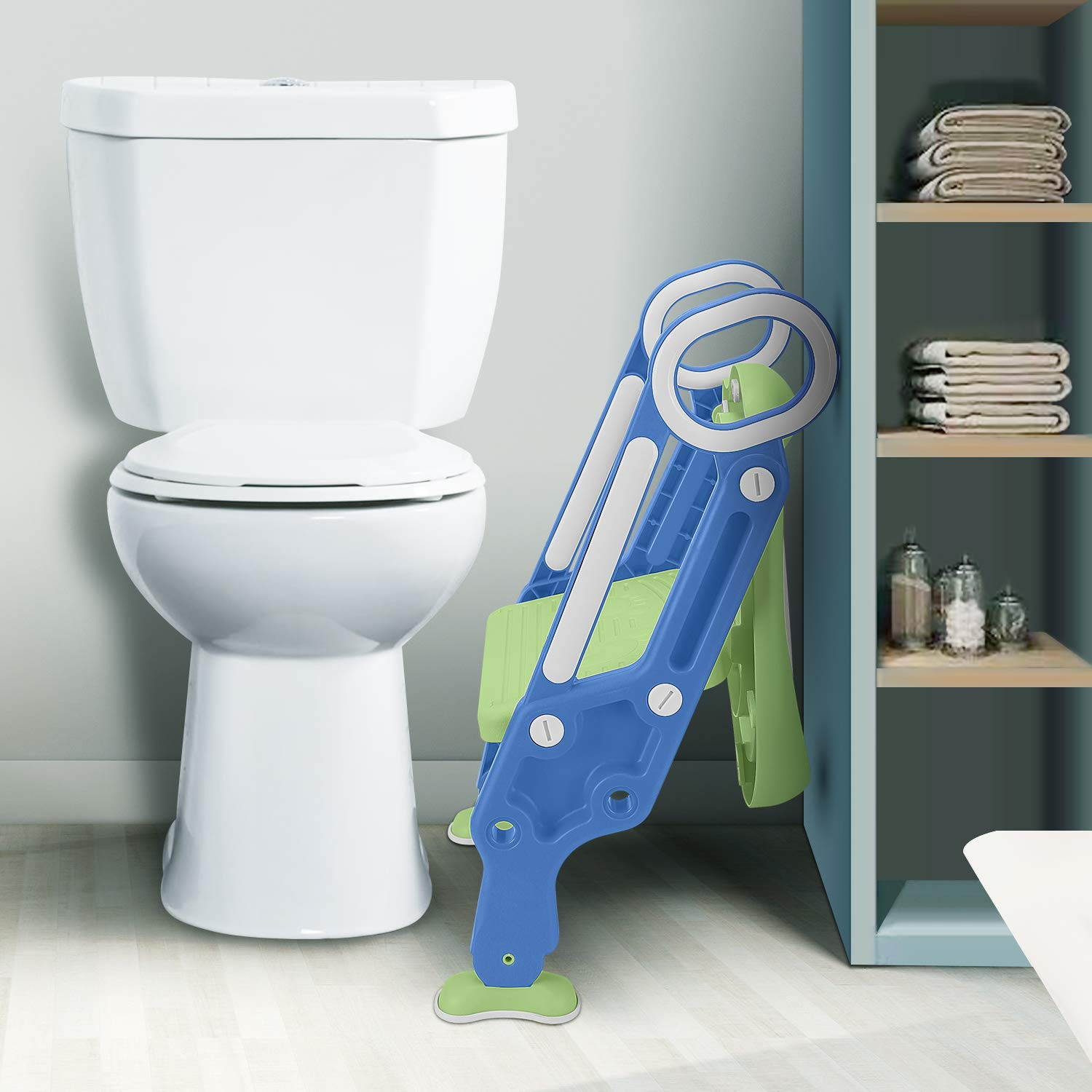 Potty Training Seat with Step Stool Ladder SunBorder Chair for Kids Baby and Toddler Toilet Training with Handles Padded Seat Wide Step Non-Slip Blue Green Blue+Purple +PU Cushion