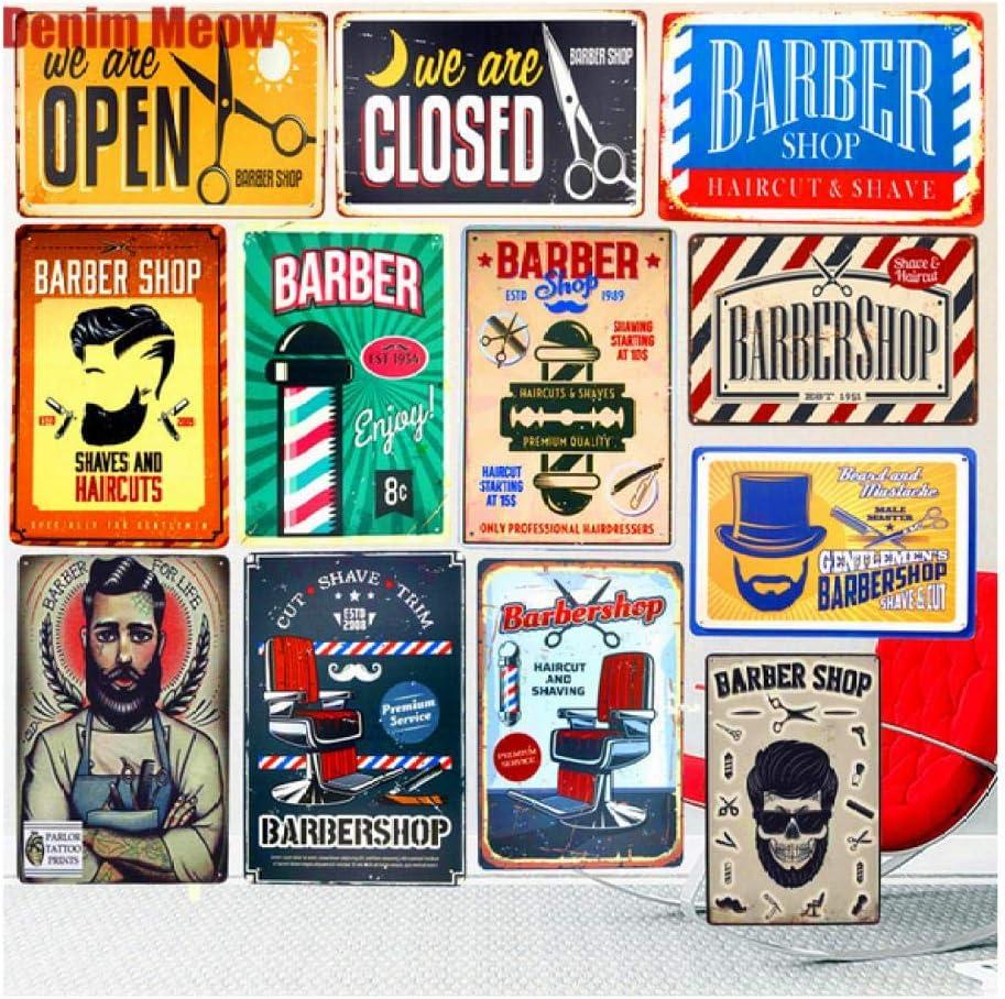 LHCY Vintage /Étain M/étal Affiche Plaque D/écorative Coupe De Cheveux /& Rasage R/étro Plaques en M/étal Pub D/écoration Boutique Publicit/é Stickers Muraux Top Coiffure Art Plaque D/écor /À La Maison