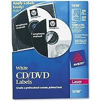 Avery 5698 Etiqueta Láser CD 100 Etiquetas y 200 Lomos, color Blanco