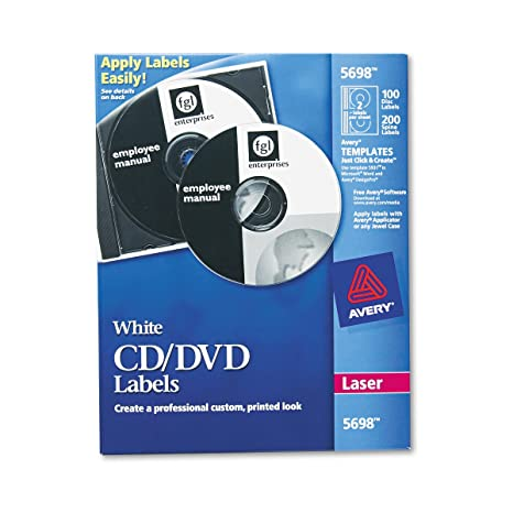 Amazon Avery Cd Labels For Laser Printers White 100 Disc