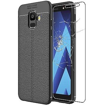 ebestStar - Compatible Funda Samsung A6 Galaxy 2018 SM-A600F Carcasa Silicona Gel, Protección Diseño Cuero Ultra Slim Case, Negro + Cristal Templado ...