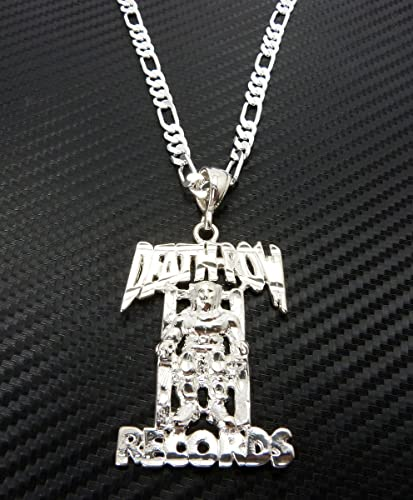 Jotw silver death row records pendant with a 24 inch 5mm figaro jotw silver death row records pendant with a 24 inch 5mm figaro chain necklace good quality aloadofball Choice Image