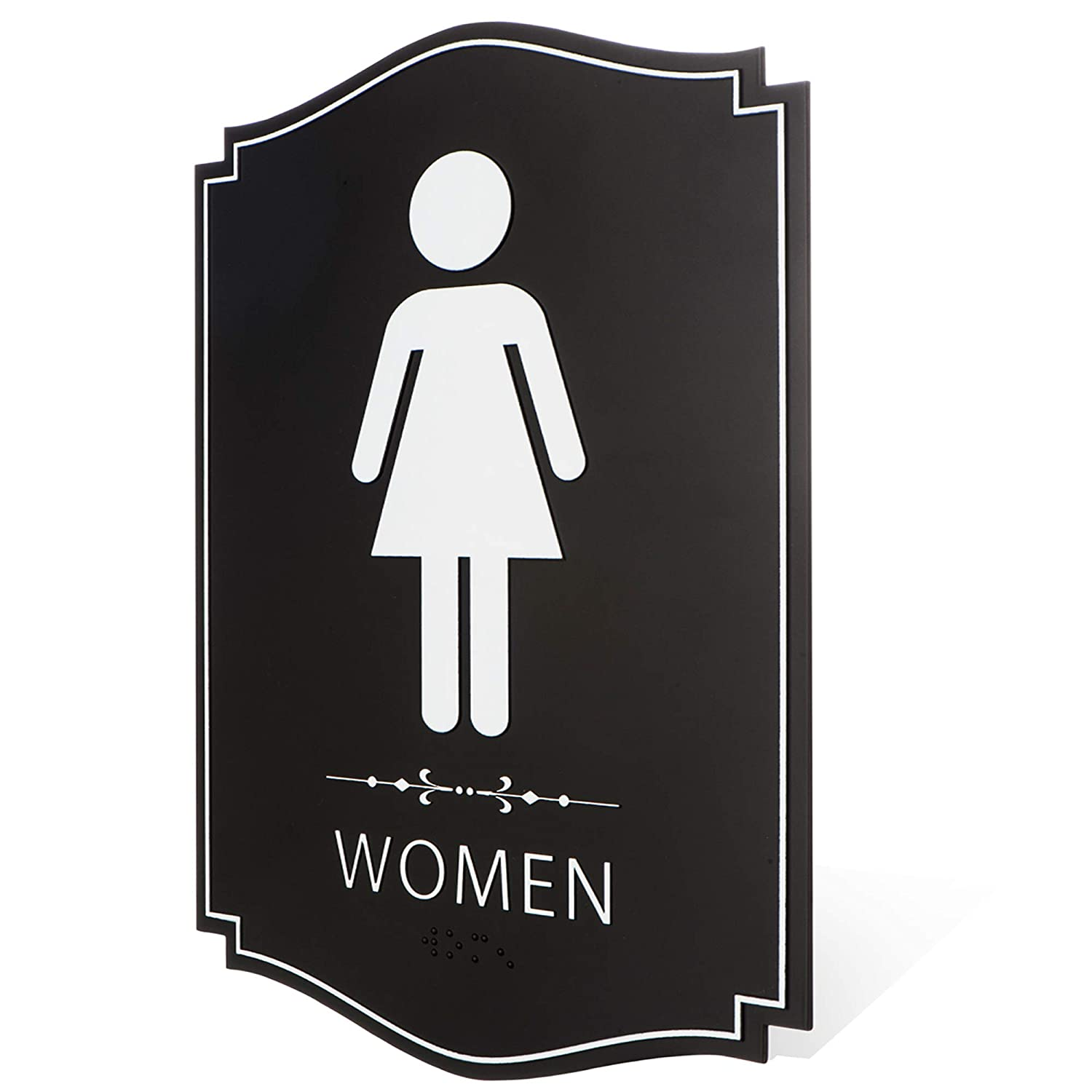 and Restaurants - ADA Compliant Braille Male /& Female Bathroom Sign with Double Sided 3M Tape for Offices Businesses Gender Neutral Unisex//Handicap Men//Women Modern Family Restroom Sign 9x 63pk