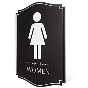 "Women's Restroom Sign Black/White (9"" x 6"" 1pk) - ADA Compliant Braille Female Bathroom Sign with Double Sided 3M Tape Modern Chic Sign for Offices, Businesses, and Restaurants"