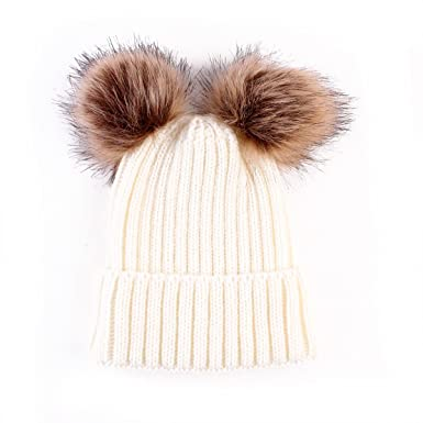 c34acd6cadf puseky Infant Toddler Baby Cute Pom Pom Balls Hats Knit Crochet Winter Warm  Beanie Cap (Beige)  Amazon.co.uk  Clothing
