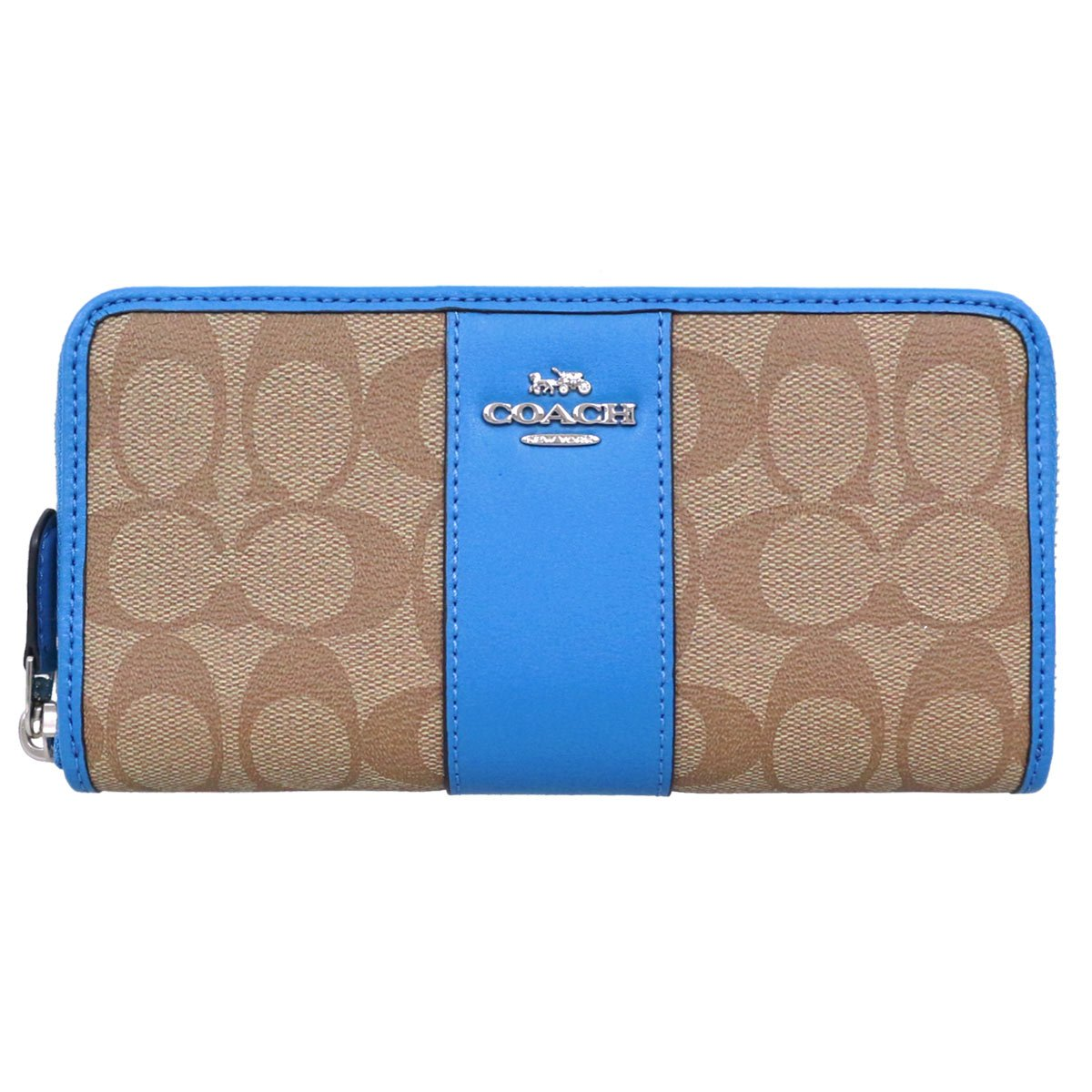 [コーチ] COACH 財布 (長財布) F54630 シグネチャー 長財布 レディース [アウトレット品] [並行輸入品] B07FXY4X87 #20 カーキ×ブライトブルー #20 カーキ×ブライトブルー