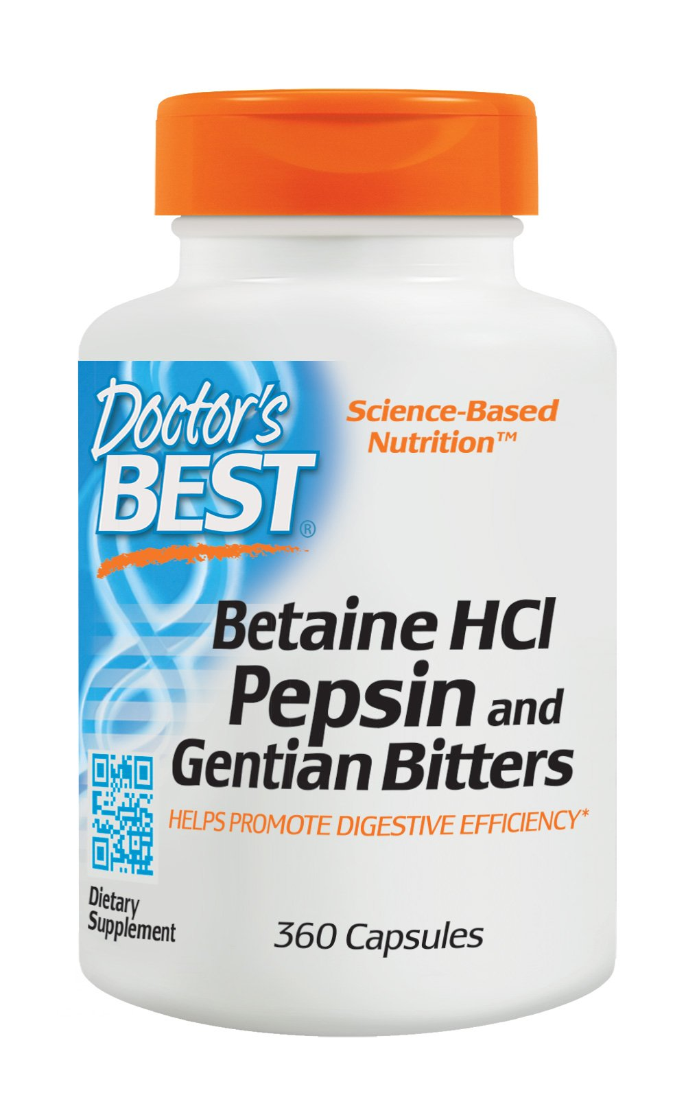 Doctor's Best Betaine HCI Pepsin and Gentian Bitters, Non-GMO, Gluten Free, Digestion Support, 360 Caps
