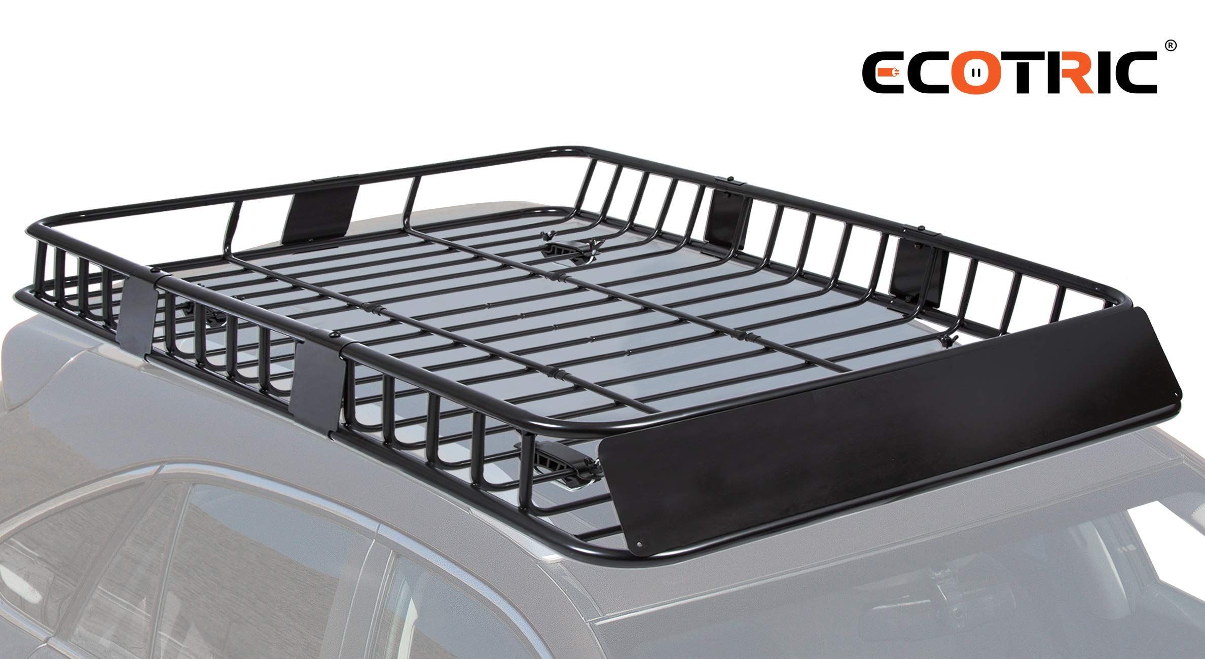 """ECOTRIC 64"""" Universal Black Roof Rack Cargo Carrier Car Top Luggage Holder with Extension Carrier Basket SUV Storage for Travel"""