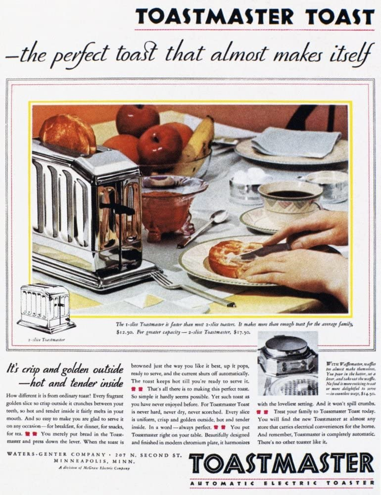 Toaster Ad 1931 Namerican Advertisement 1931 For The Toastmaster Automatic Pop-Up Toaster Poster Print by (18 x 24)