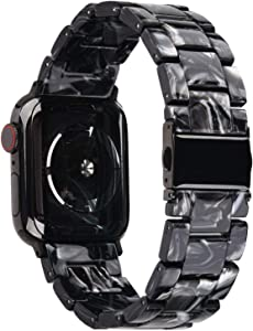 V-MORO Resin Strap Compatible with Apple Watch Band 38mm 40mm Series 5/4/3/2/1 Women Men with Stainless Steel Buckle, Apple iWatch Replacement Wristband Bracelet (Black/Gray, 38mm/40mm)