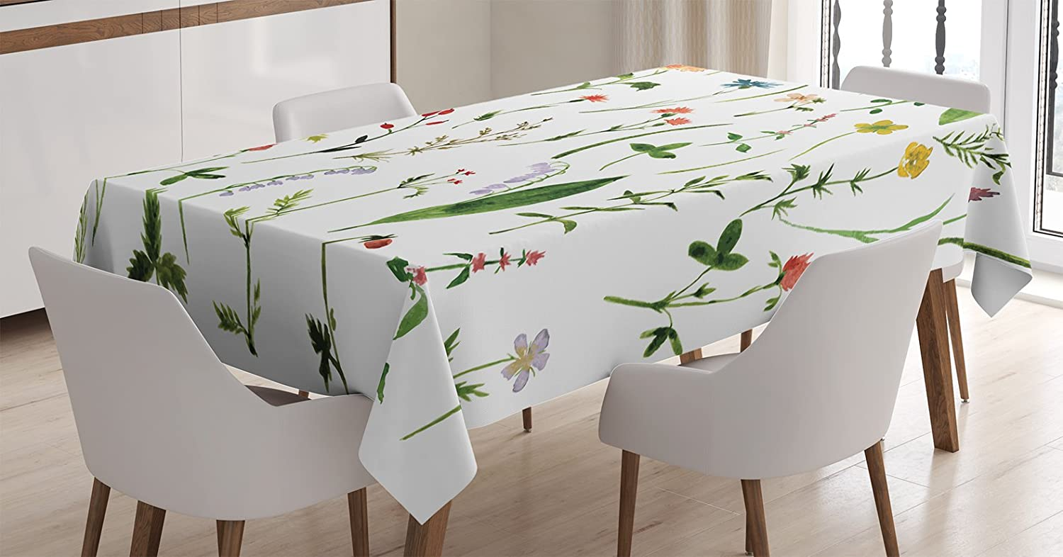 Ambesonne Watercolor Flower Tablecloth, Different Kinds of Flowers with Herbs Weeds Plants and Earth Elements, Rectangular Table Cover for Dining Room Kitchen Decor, 60