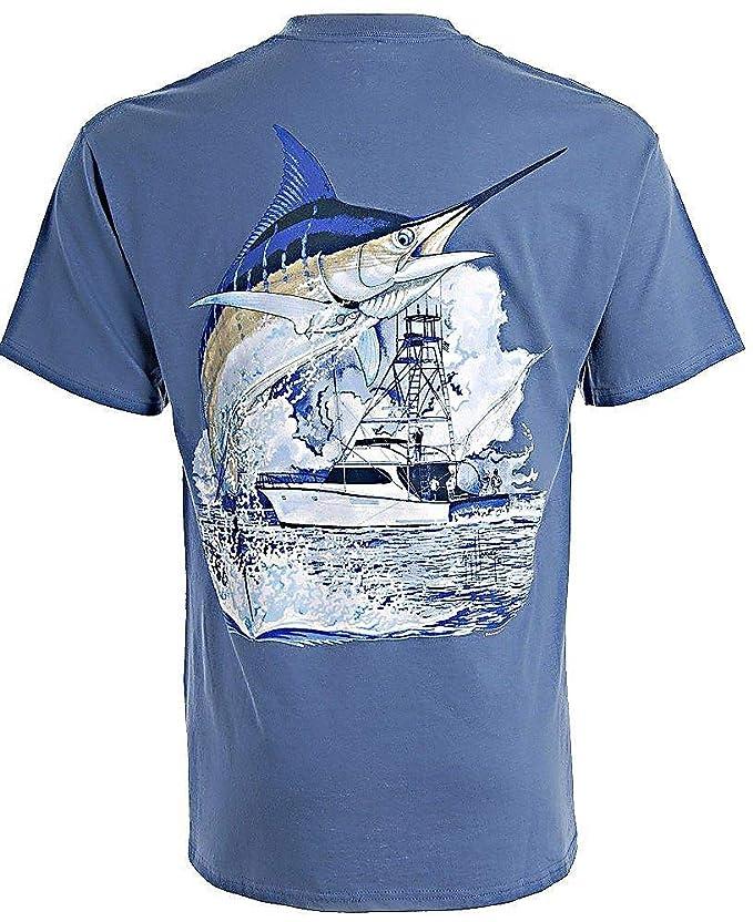 caf92fe12e2dd Amazon.com  Guy Harvey Marlin Boat T-Shirt  Clothing