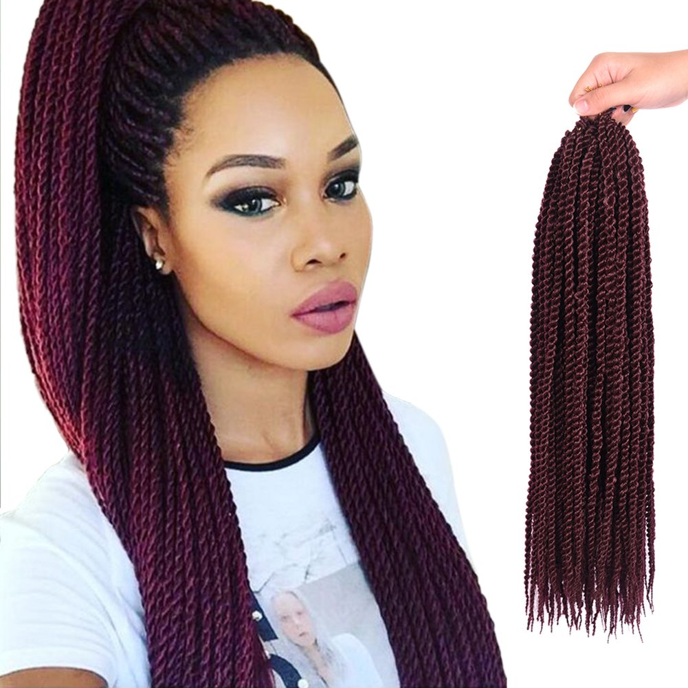Senegalese Twist Hair Crochet Braids Hairstyles 2s Pretwist Box Braid Crochet Hair Extensions 18 Inch 90 Strands 201 Grams Pack 18 Inch 3 Pcs 99j