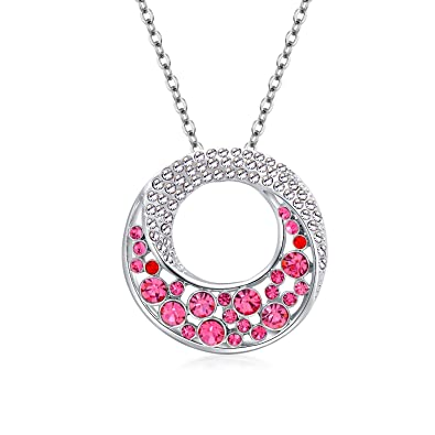 0e203b9ba Color: St.Ushine Geometry Circle Crescent Micky Crystal Pendant Necklaces  for Women Girls Fashion Jewelry Gift