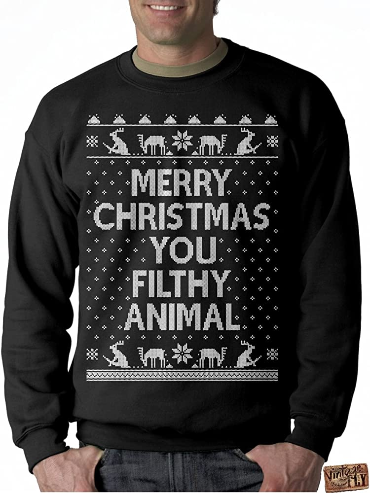 Merry Christmas You Filthy Animals.Mens Ugly Christmas Sweater Merry Christmas You Filthy Animal Pullover Sweatshirt