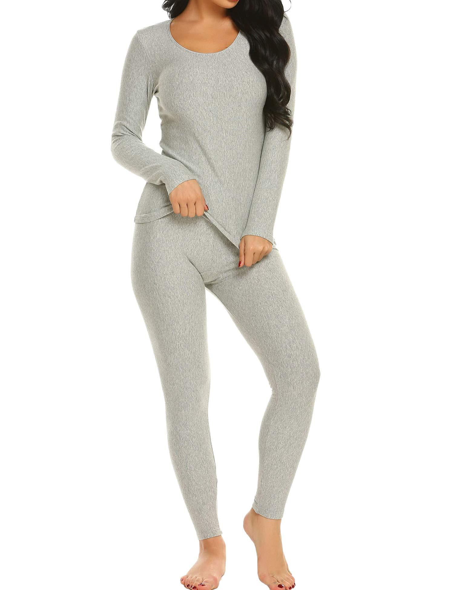 Ekouaer Long Thermal Underwear Fleece Lined Winter Base Layering Set for Women,Fleece-gray,Medium by Ekouaer