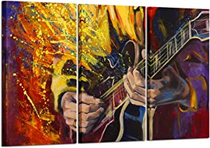 Kreative Arts Large 3 Panel Wall Art Painting Music Picture Jazz Guitar Oil Painting Printed On Canvas Stretched by Wooden Frame for Living Room Decor 16x32inchx3pcs
