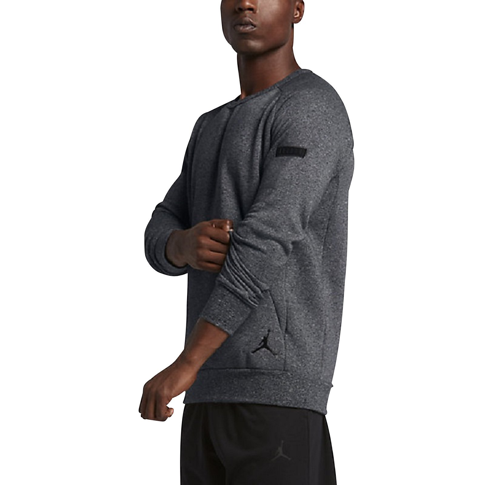 Jordan Icon Fleece Crew Neck Men's Fashion Casual Winter Sweatshirt Black 802181-010 (Size XL)