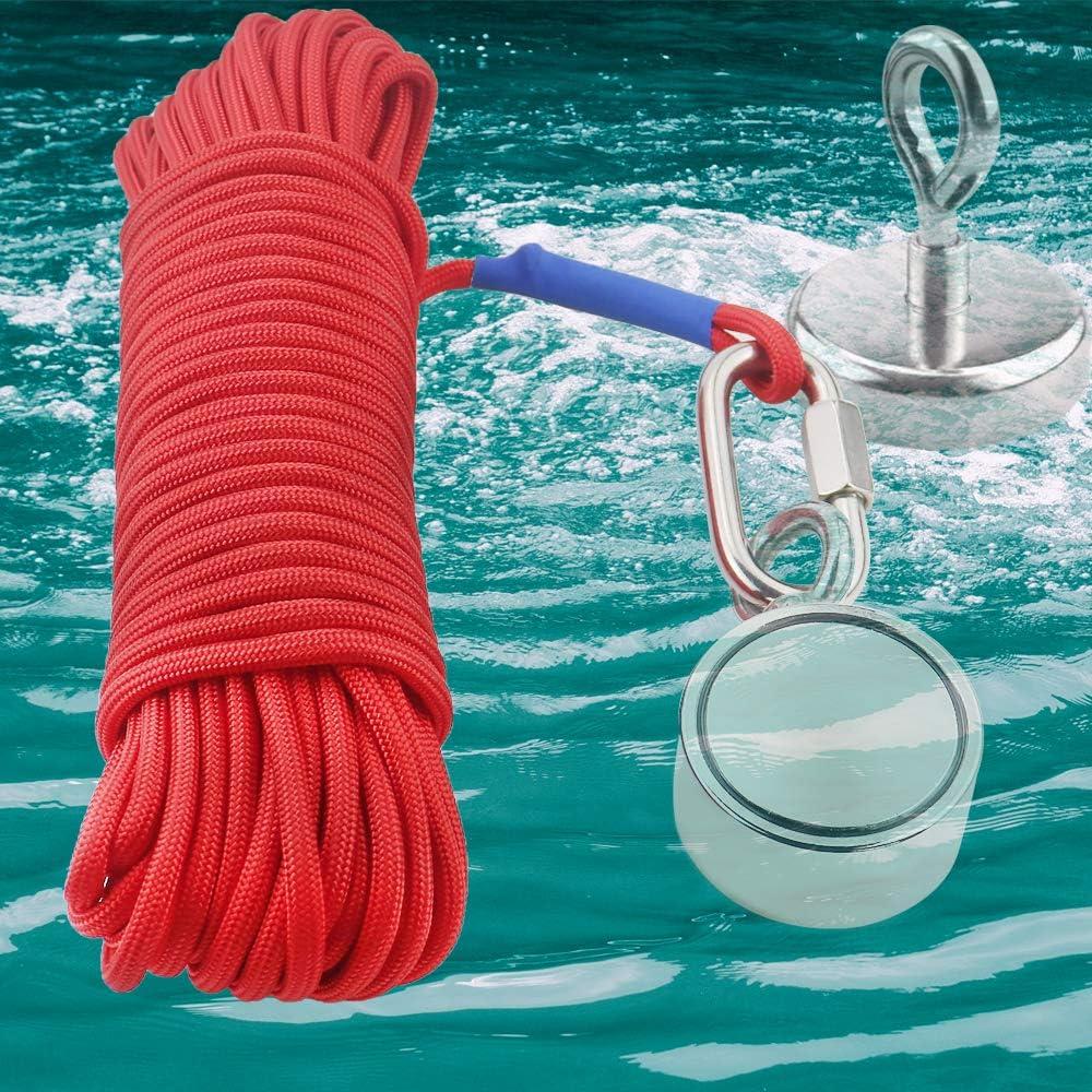 65 Pies Di/ámetro 6 mm TooTaci de 20 Metros Cuerda de Im/án de Pesca Cuerda Pesada con cierre de Seguridad Cuerda de Seguridad de Nylon de Alta Resistencia Para Todo Uso