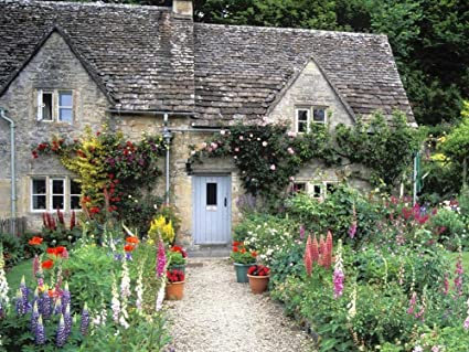 TSlook Poster Print On Canvas Wall Decorations Paintings For Living Room Bedroom English Cottage Garden