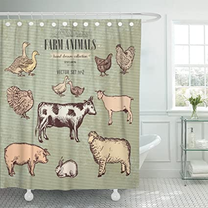 Emvency Shower Curtain Retro Farm Animals Vintage Collection Cow Pig Goat Sheep Chicken Duck Goose Turkey