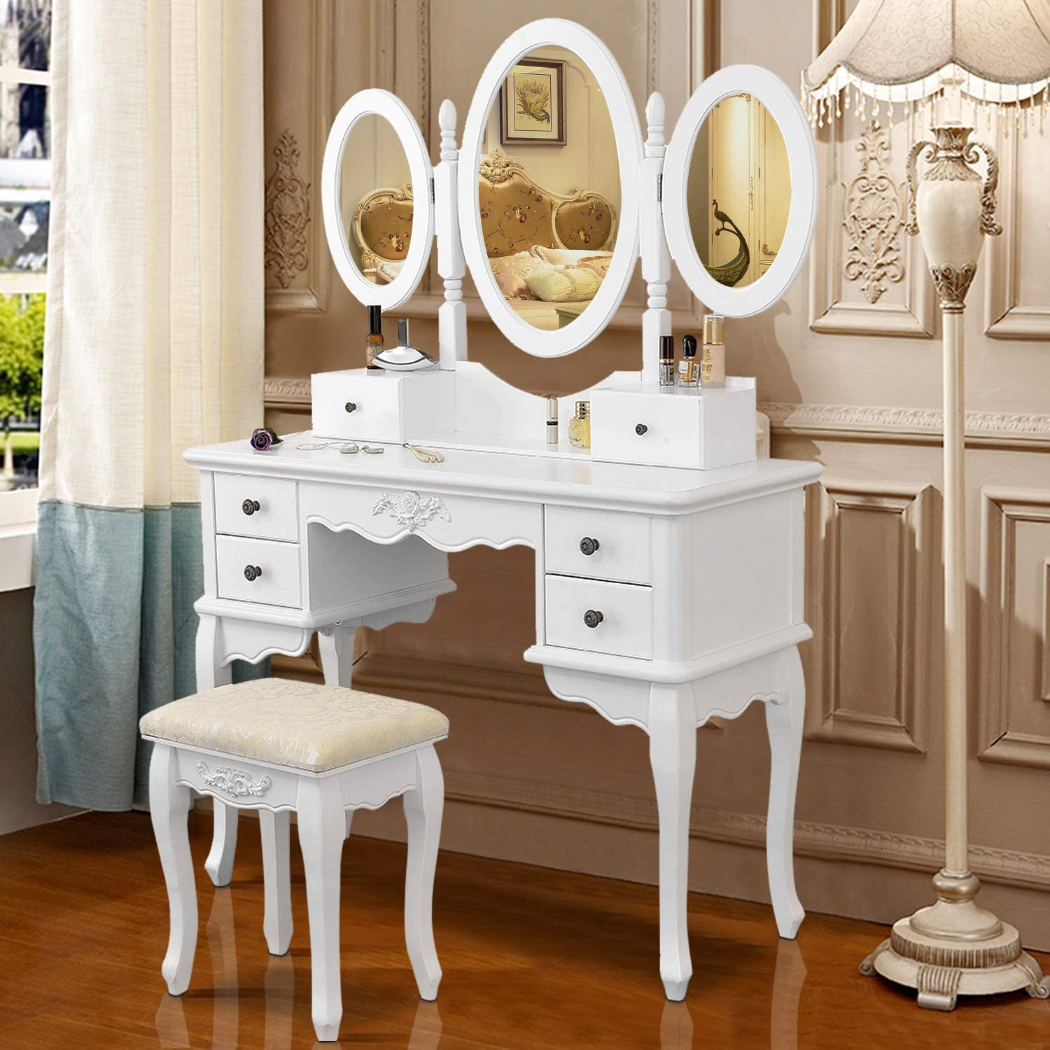 Vanity Makeup Table Set Tri-Folding Mirror Dressing Table with Padded Stool 6 Drawers,Bedroom Vanity Table Writing Desk with Removable for Girls Women,White