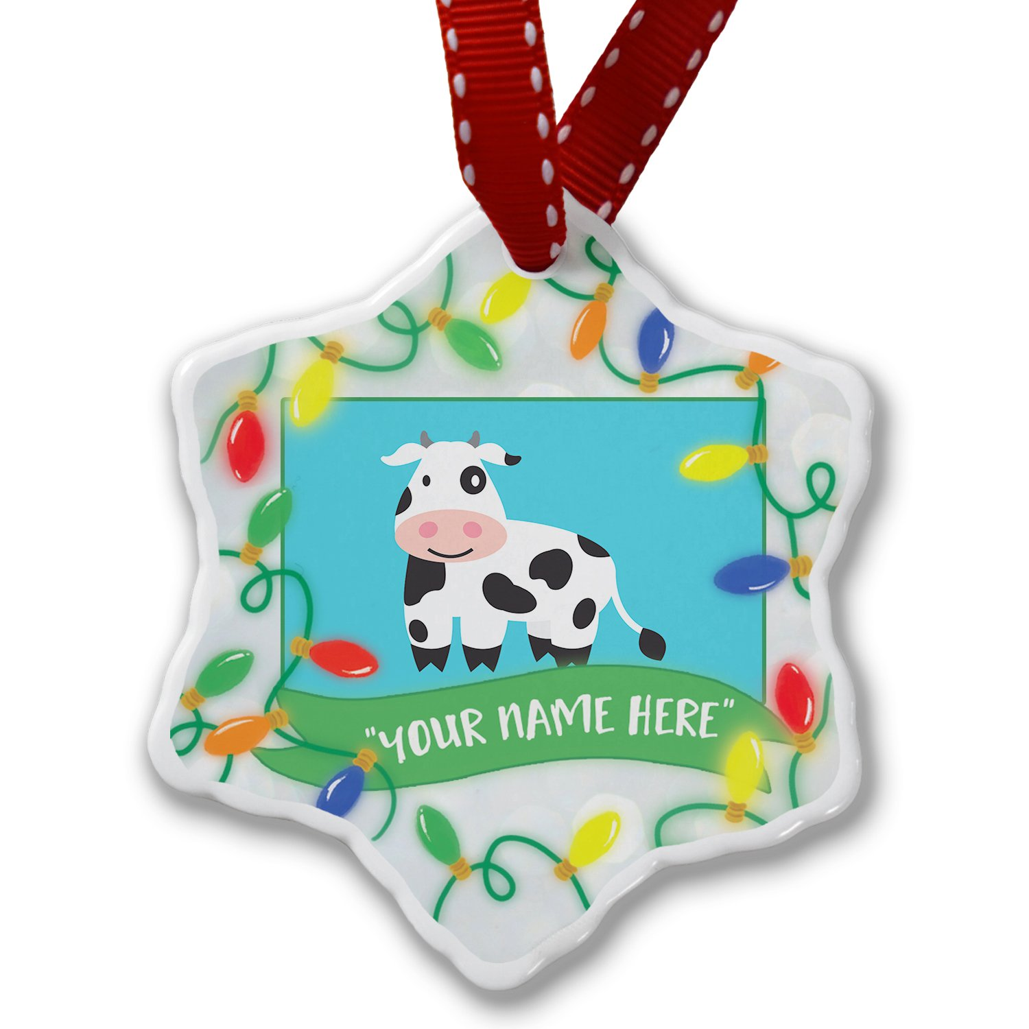 Personalized Name Christmas Ornament, Cute Animals for Kids Cow NEONBLOND