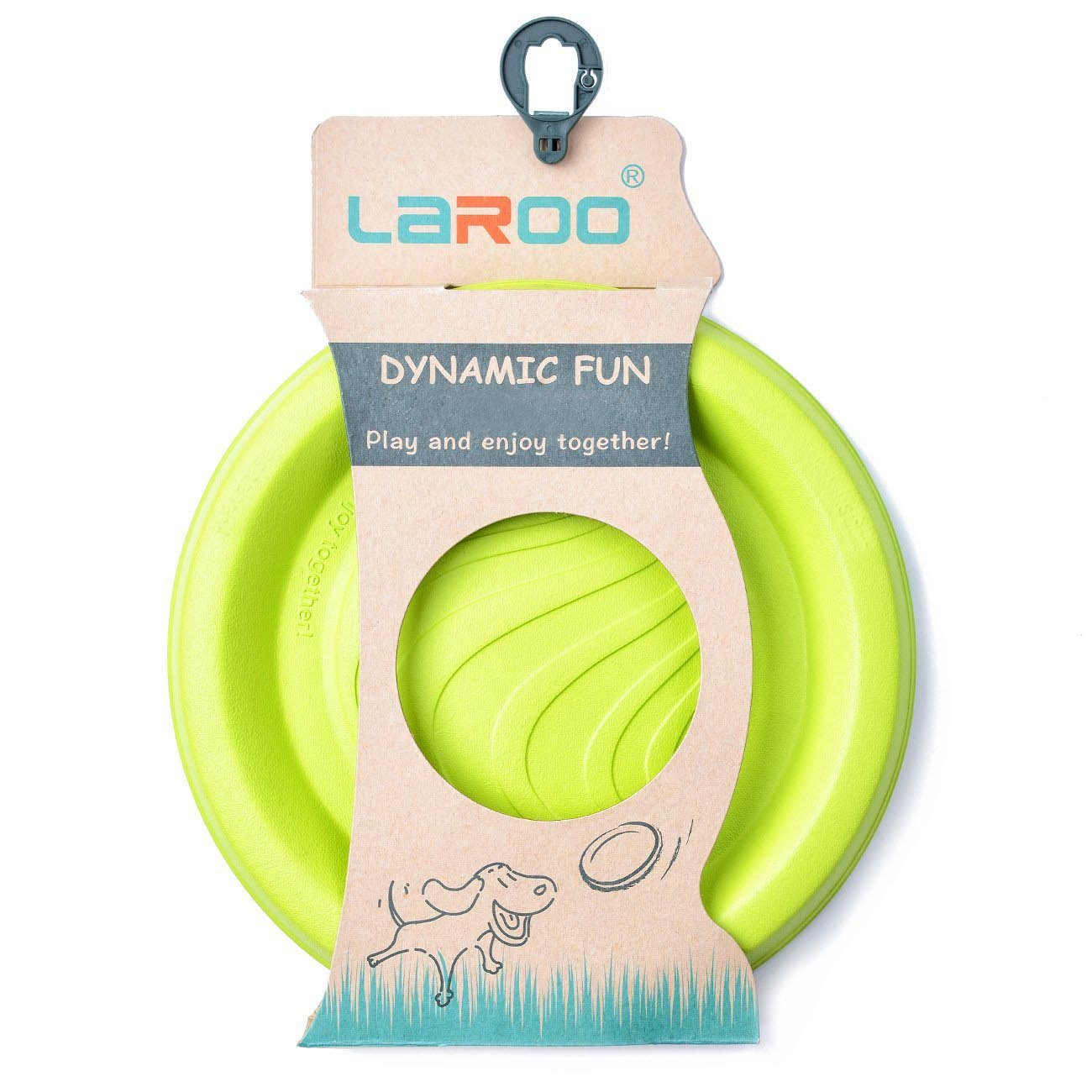 LaRoo Indestructible Flying Disc Dog Play Toy 100% Natural Non-toxic Durable Rubber Pet Chew Toy for Outdoor Interactive Fun with your Puppy - Green by LaRoo
