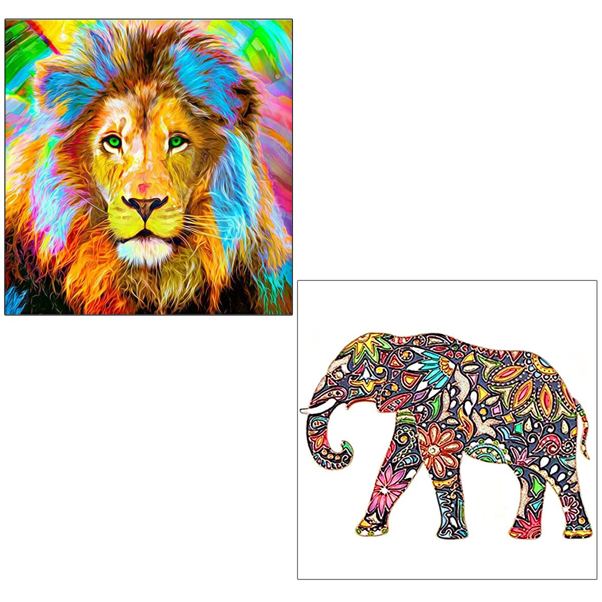 AUGSHY 5D Diamond Painting Kit, 2 Pack 12 x 12 inch Lion and Elephant Full Drill Cross Stitch for Home Wall Decor Arts Craft