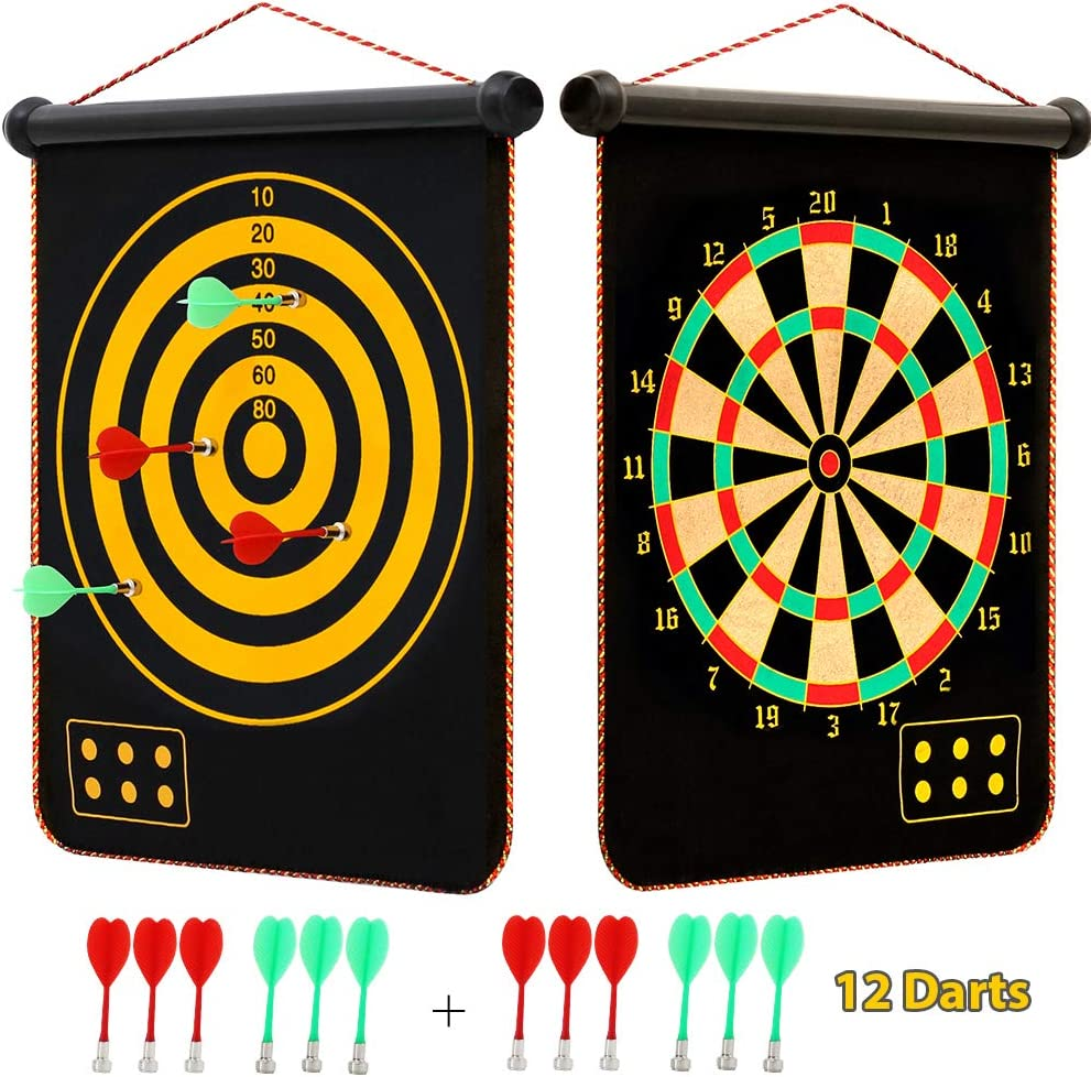 "Omixe Magnetic Dart Board 18""x15"" 2 In 1 Roll Up Magnetic Dartboard Indoor And Outdoor Games For Kids With 12 Magnetic Darts"