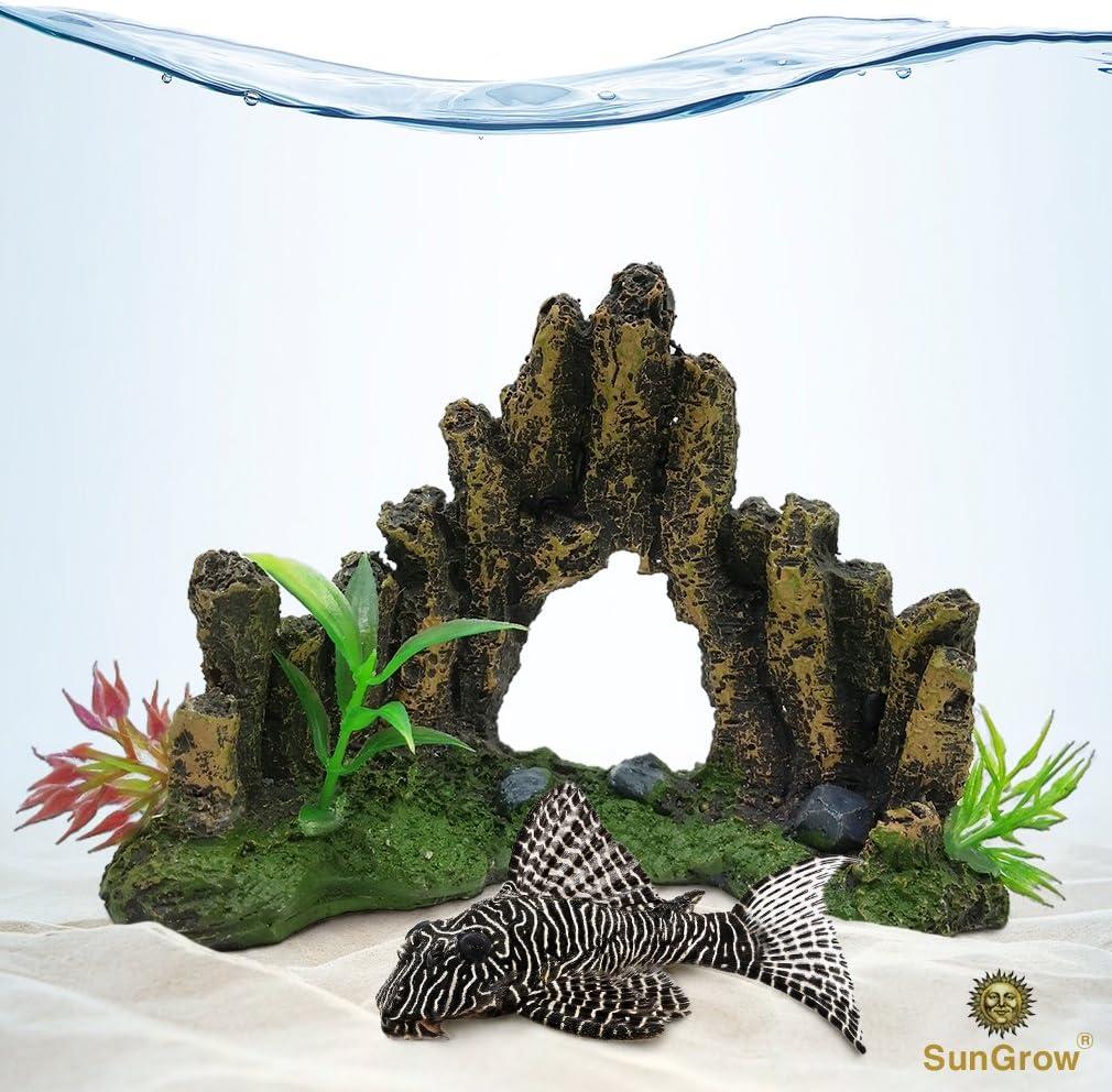 Decorative Aquarium Cave (1pc) --- Low Maintenance Artificial Stone Cave Decor for Fish Tanks and Terrariums - Realistic, Hand Painted Details - Includes 3 Plastic Plants for Bonus Colorful Beauty