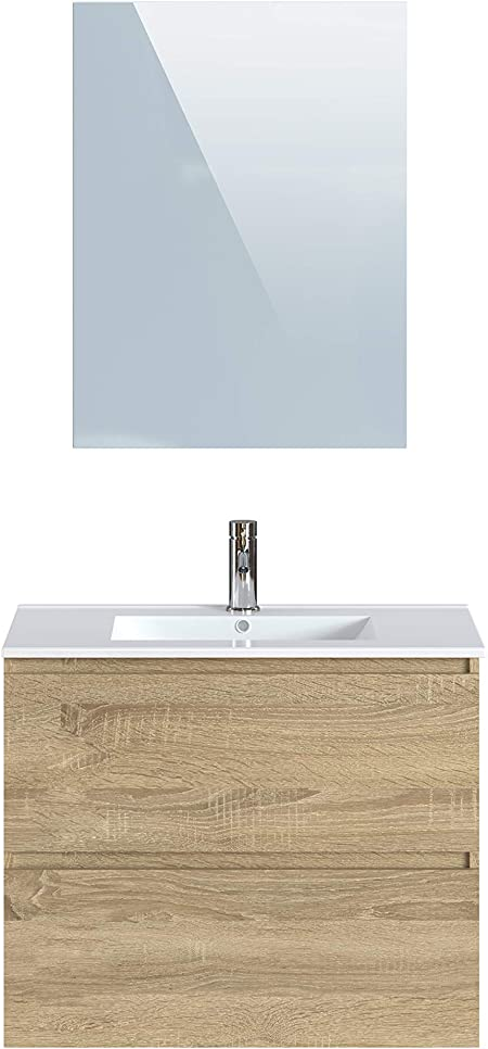 livraison gratuite réduction jusqu'à 60% beau Marque Amazon - Movian Dive - Meuble de salle de bain avec miroir et  lavabo, 81 x 46,5 x 68 cm, Marron