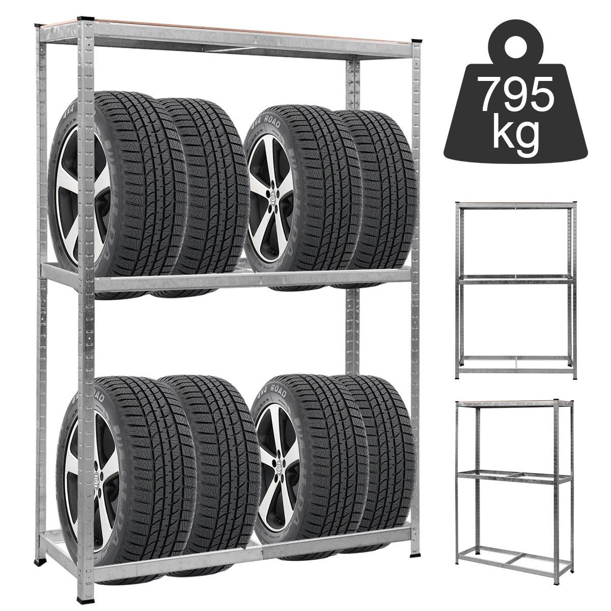 COSTWAY Etag/ère de Rangement Stockage pour Pneus Rayonnage Pneus Garage Capacit/é de Charge Lourde en Acier /à 3 Niveaux 120 x 40 x 180 cm