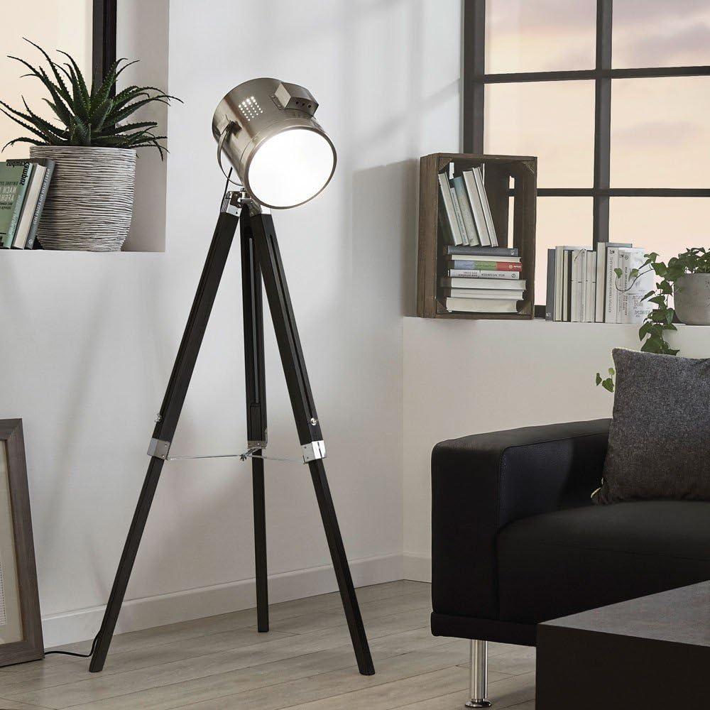 Licht Trend Gazer Dreibein Stehleuchte Holz Chrom Schwarz