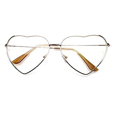 3df7ec612d5 Emblem Eyewear - Stylish Metal Frame Sunglasses Women Love Heart Shape Eyewear  Eyeglasses (Clear Gold)  Amazon.co.uk  Clothing