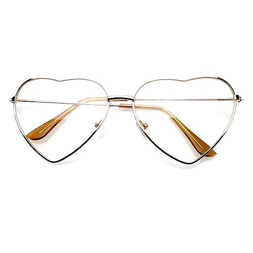 d2badc365b8 Metal Frame Heart Shape Sunglasses Cute Lovely Women s Clear Glasses (Clear  Nerd Gold)
