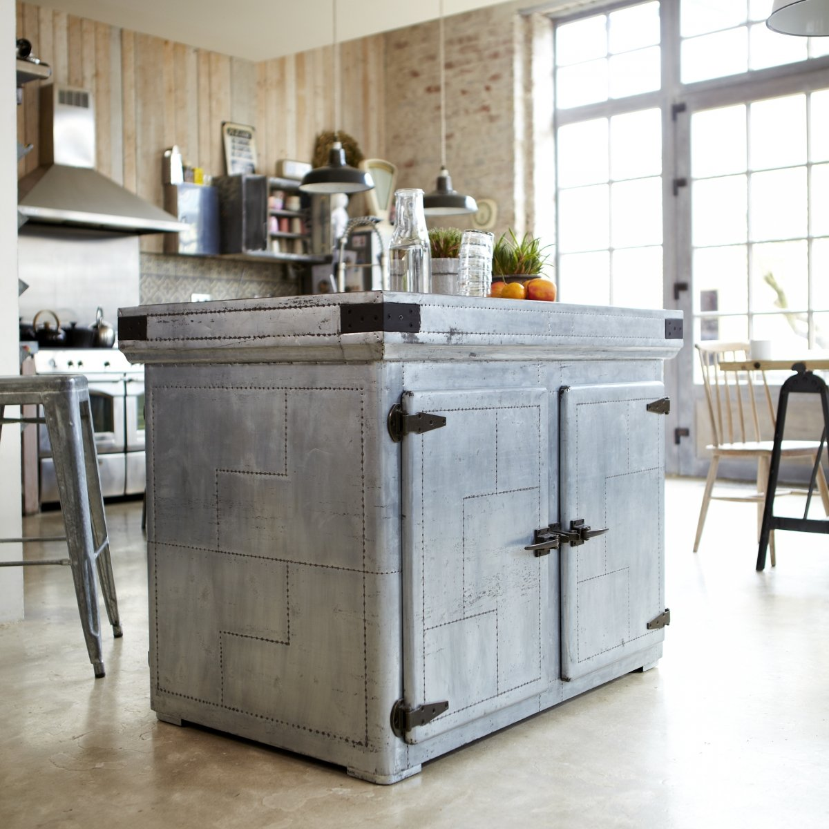 Tikamoon Zinc Industrial Kitchen Island Cupboard Dresser Industrial
