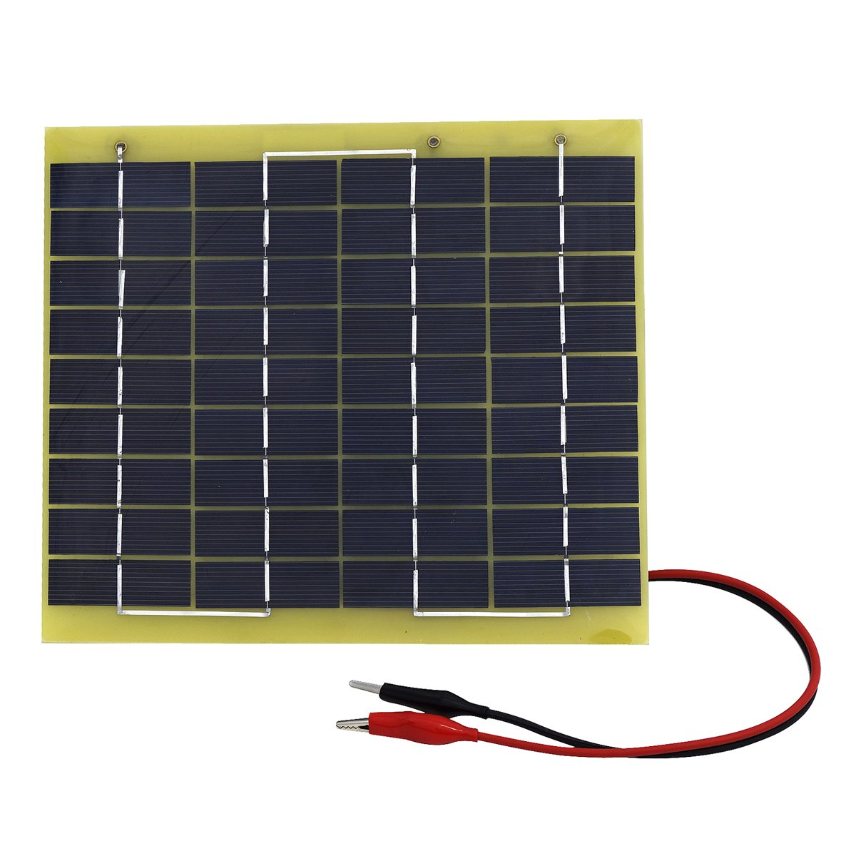 ECO-WORTHY 5W 12V Epoxy Solar Panel Module Battery Charger with Battery Clips Diode Easy Carry for Camping