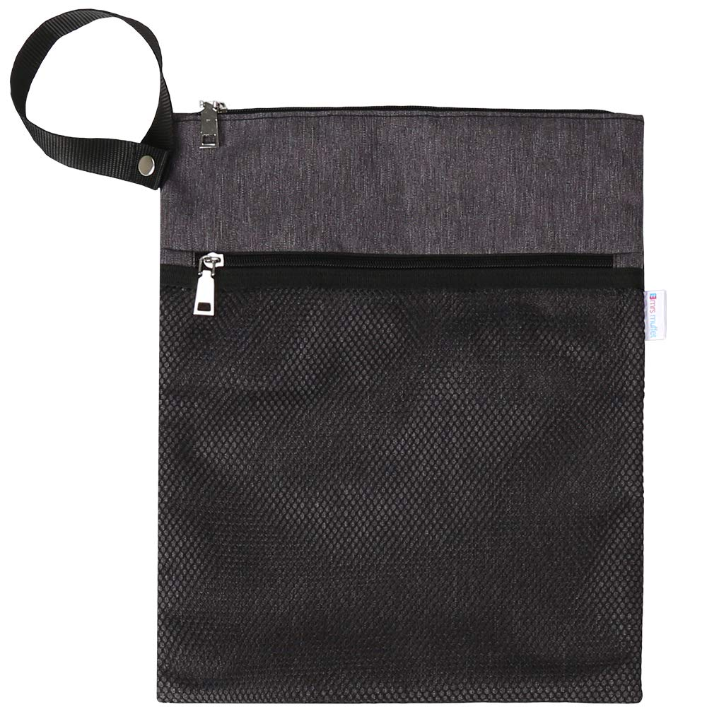 Wet Dry Bag for Cloth Diapers or Swimwear, Waterproof and Reusable with Snap Handle - by Mrs Muffet (Grey) by Mrs Muffet
