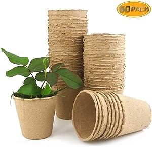 Wpxmer 60 Pack Seeds Starter Peat Pots, Biodegradable Pots for Seedling Garden Germination Nursery Pots(3.15 inches)