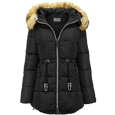 Abrigo largo de invierno de plumón con capucha de pelo largo, efecto parka: Ropa y accesorios