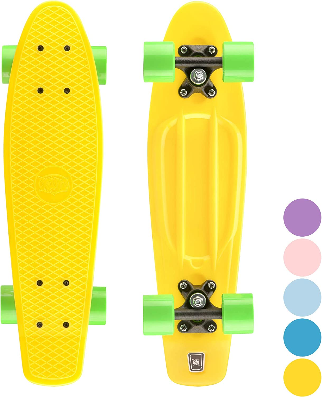 Xootz Kid's Mini Cruiser Skateboard, Retro Plastic Complete Skateboard for Boys and Girls / UK
